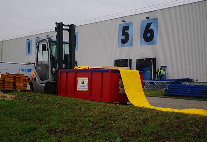 protection anti inondation d'un usine conditionnée en caisson de déploiement