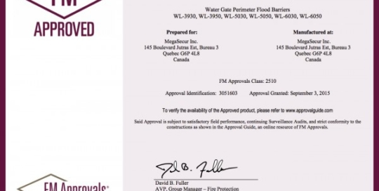 Certificate of compliance. FM APPROVED. Barrages souples Water-Gate©.