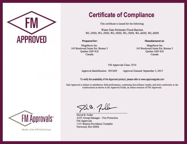 Certificat FM Approved pour les barrages autobloquants Water-Gate© Classe 2510