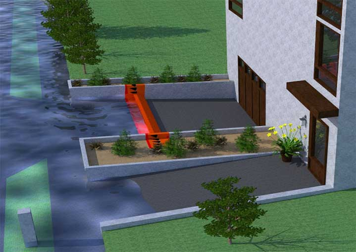 flood protection with a water gate barrier of a garage 3D drawing