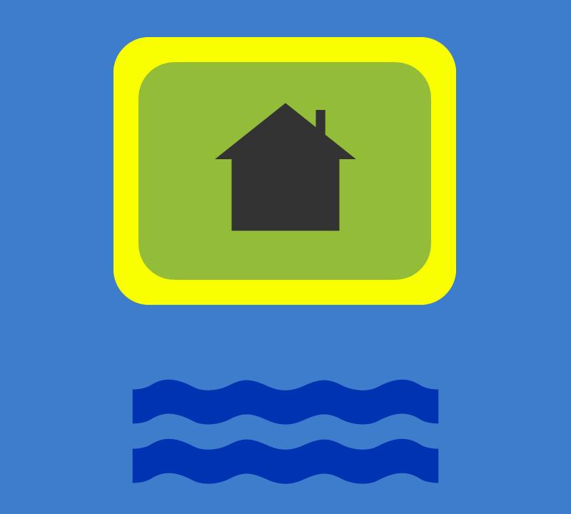 Schema anti bescherming tegen overstromingen van de toren van een gebouw