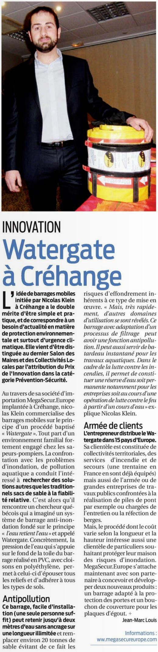 Article du journal la semaine sur la protection anti inondation water-gate
