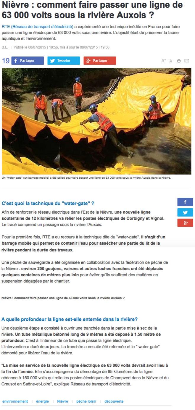 reportage sur france 3 le batardeau water-gate utilisé par RTE