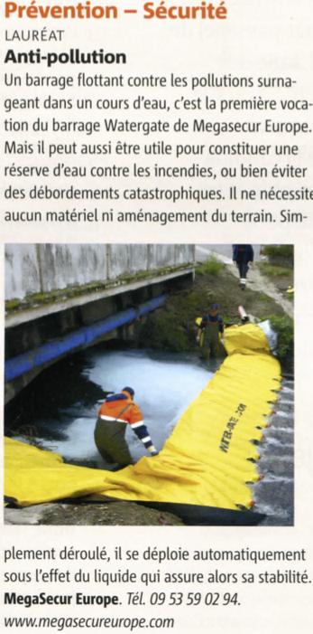 Article dans le magazine des maires de france sur le barrage anti pollution water-gate