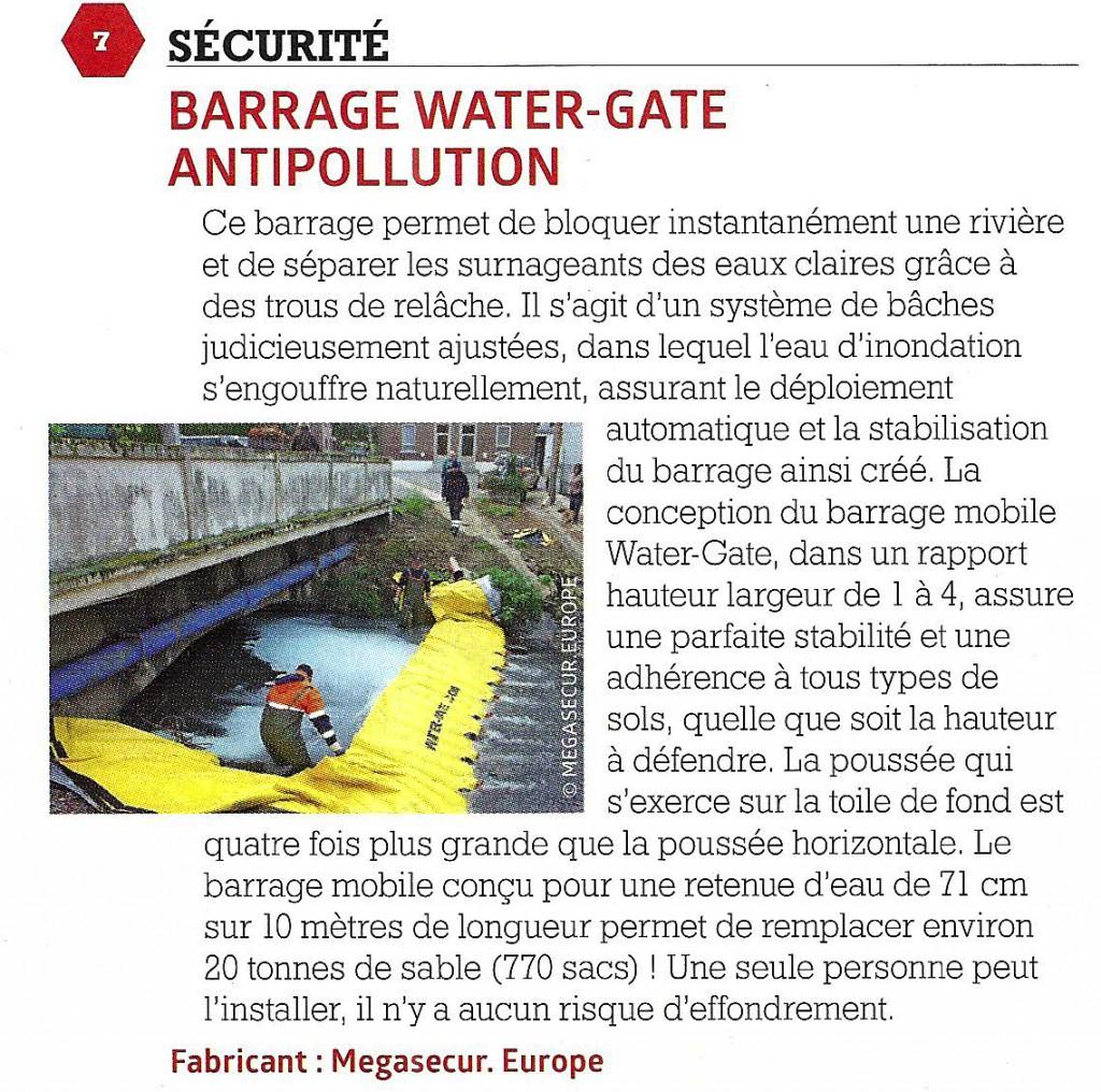Article dans le journal techni cités sur le barrage anti pollution rivière water-gate