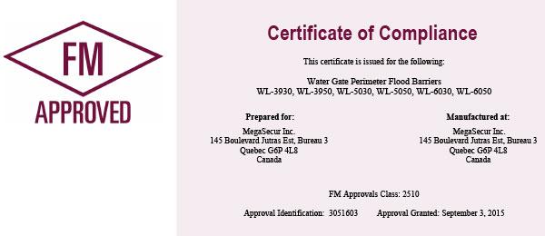 Water-Gate certifié FM approval