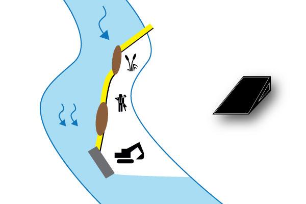 batardeaux rivière sur banc de sable
