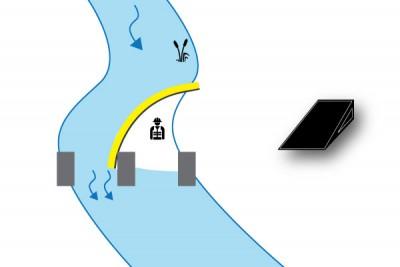 batardeau rivière sur pile de pont