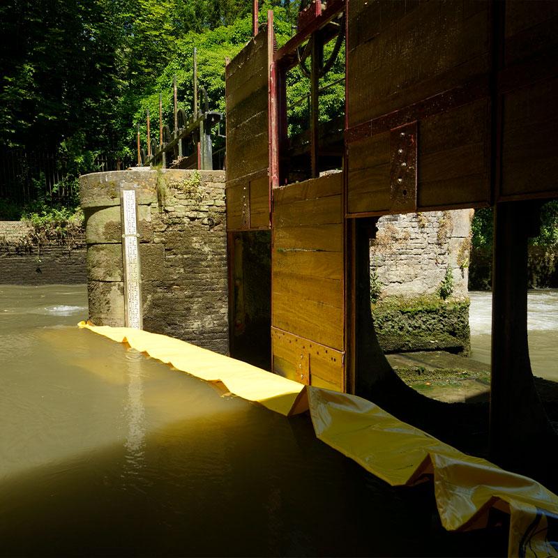 Restauration du vannage du Moulin de Pidou XVème siècle | Rivière Aa - Batardeau souple Water-Gate© WA-2850