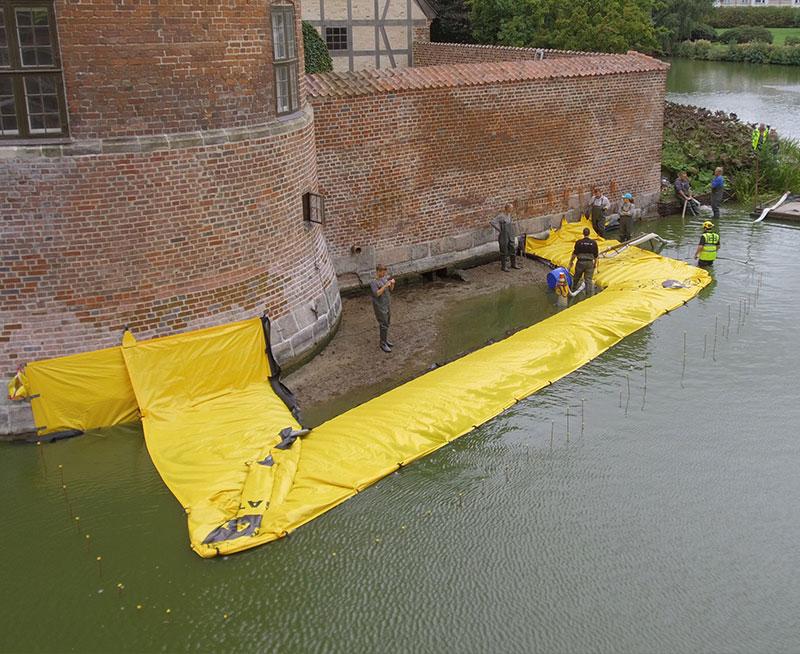 Batardeau en U - Château de Frederiksbord - Assèchement de la zone chantier - Douve - Premier Canal